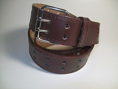 """Men Brown Leather Belt Two Hold with Silver Buckle 38"""" #9041"""