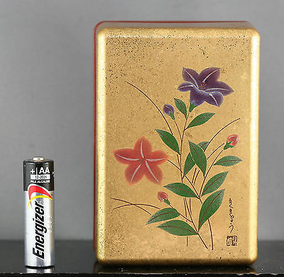 Beautiful Vintage Quality Japanese Hand Painted Lacquer Box Signed