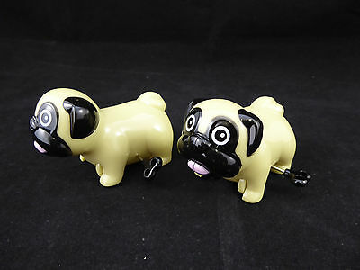 Wind Up RACING PUGS Dog Running Toys - Set of 2