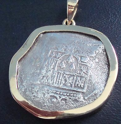 Mexico 8 Reales Silver Cob Coin 14 K Gold Pendant Bezel