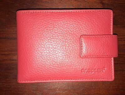 SADDLER East West 12 Slot Credit Card Case Red NEW Genuine Leather