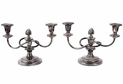 2 Antique William Adams Silver Plate 2 Sconce Candelabra Candlestick Late 1800s
