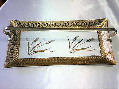 """Mid Century Modern Bent Glass Tray~Gold Wheat Motif & Metal Handle~Signed~17.75"""""""