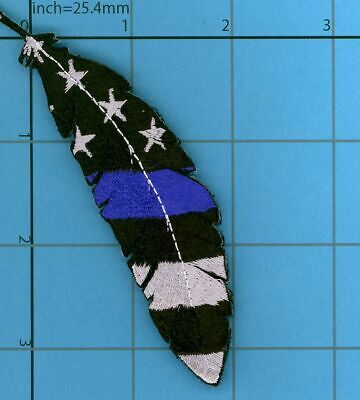 v2 THIN BLUE LINE SWAT FEATHER Police USA flag Morale Patch Quill TBL Tactical