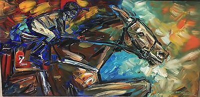 Oil Painting On Canvas Hand Painted Original Signed The Jockey Horse Large