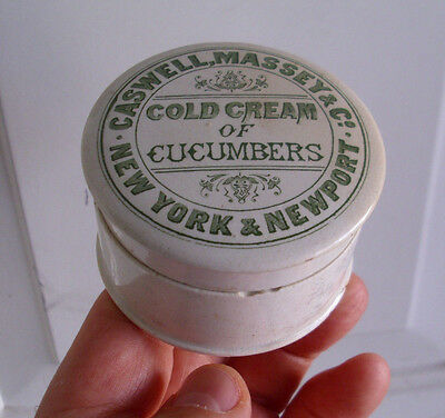 Antique, ceramic,1880's AMERICAN Cold Cream jar, New York & Newport R.I. pot lid