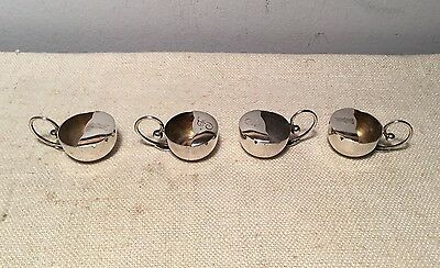 Carl Poul Petersen Montreal Canadian Sterling Silver Set 4 Peapod Salt Cellars