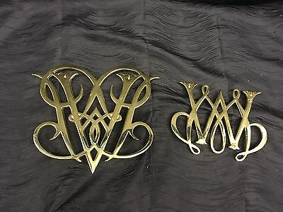 Vtg Virginia Metalcrafters Williamsburg Brass Trivet Lot Queen Ann Cypher Mary