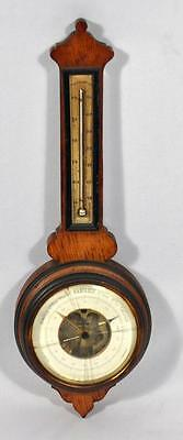 Antique Belgium Carved Wood Wall Barometer/thermometer J.agthe Anvers(Antwerp)