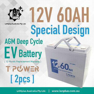 2X 12V 60AH AGM DEEP CYCLE Battery Electric SCOOTER GOLF CART BUGGY Wheelchair