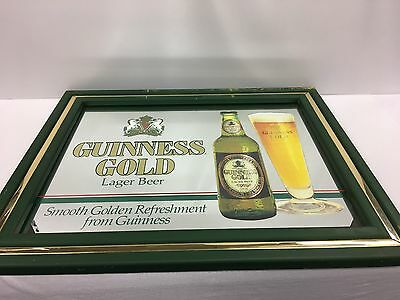 Vintage 1990 Guinness Gold Lager Beer Sign Mirror for The Man Cave