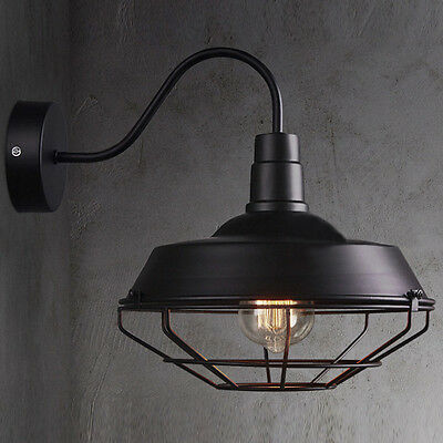 Big Wall Sconce Light Lamp Cage Vintage Iron Outdoor Barn Gooseneck Lighting