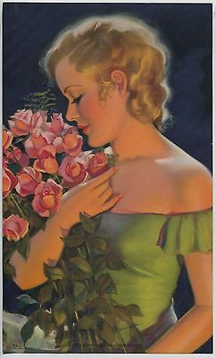 Charming Vintage 1930s-40s Print Blonde gal Green dress with Roses Evening Scene