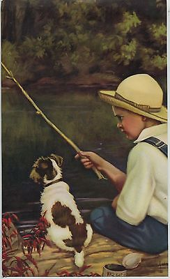 Vintage Darling 1930s-40s Print Boy Fishing with dog Adelaide Hiebel