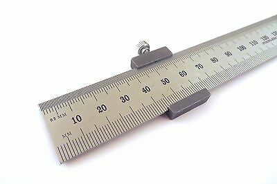 "Igaging Ruler Stop w/ Machinist Ruler E/M English Metric 12"" 300 mm Stainless"