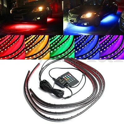 4x RGB LED Unterboden Beleuchtung 180 SMD Tube Strip Farbwelchsel Musik Control