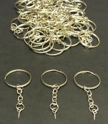 100 x Split Metal Key Rings With Chain, Loop and Screw. Multiple Purpose Uses!