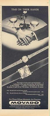 "1962 Movado PRINT AD couple ""Time on their hands"" details two great watches"