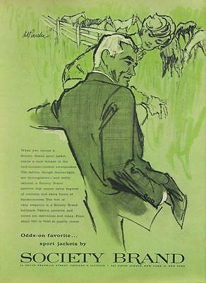 1962 Society Brand PRINT AD Men's Fashion feat: Couple watching ranch horses
