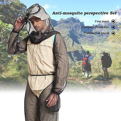 Summer Bug Wear Mosquito Suit Head Net Sleeves Pants Mesh Outdoor Camping Y7E6