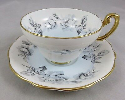 Vtg Foley Bone China - Cabbage Roses - Tea Cup and Saucer Set - England