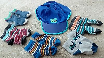 boys socks bundle age 1- 2 years plus Sun hat with neck shade gc