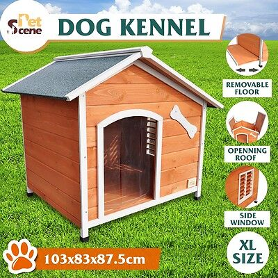 Waterpoof XL Wooden Dog Kennel Pet Animal Shelter House Removable Floor Outdoor