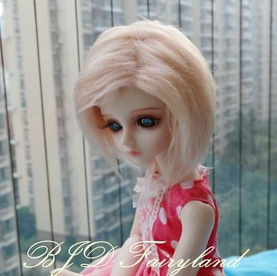 "7-8"" 7-8inch 18-19cm BJD doll wig pink golden wig for 1/4 SD Dollfie antiskid"