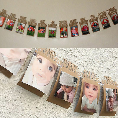DIY Baby Birthday Recording 1-12 Month Photo Frame Banner Monthly Bunting Decor