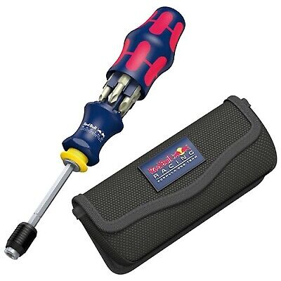 Red Bull Racing Compact Stainless 7-Pc Screwdriver Tool Kraftform 20 With Pouch