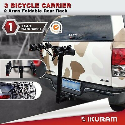 "3 Bike Bicycle Carrier Rack  2""Inch Hitch Mount 2 Arms Foldable Rear Lockable"
