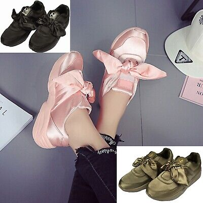 Women's Pink/Army Green Black Satin Bow Walking Athletic Fashion Sneakers Shoes