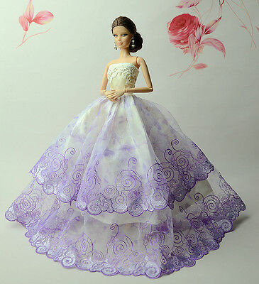Doll c75 Purple Fashion Royalty Princess Dress//Clothes//Gown For 11.5 in