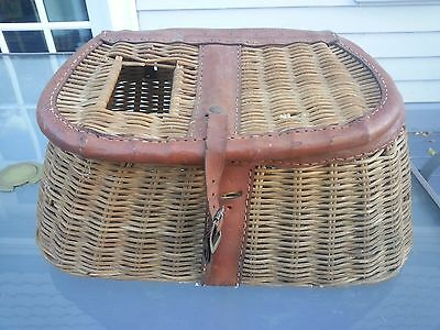 INTERESTING OLD BEAUTIFUL Fishing Creel Made of Wicker and Leather Trim