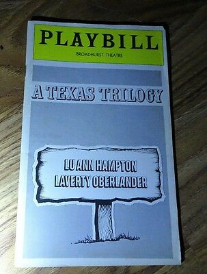 Playbill A Texas Trilogy Luann Hampton Laverty Oberlander Oct 1976