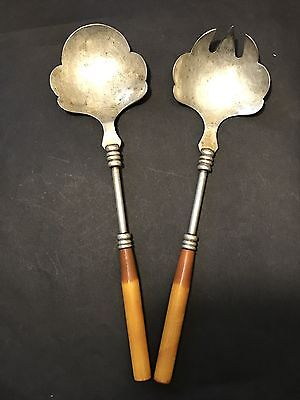 Vintage Art Deco Silver Plated Salad Servers with Two Toned Bakelite Handles