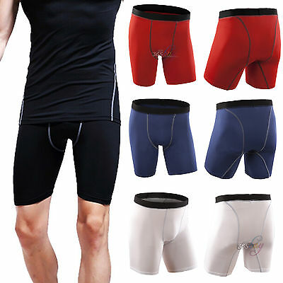 Mens Compression Tight Sports Running Pants Gym Stretch Base Layer Shorts S-XXL