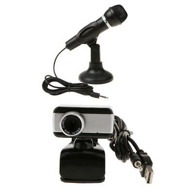 3.5mm Podcast Studio Microphone Mic w/ Stand+USB Webcam for Skype Desktop PC