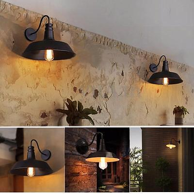 Vintage Retro iron Industrial Loft Cafe Rustic Wall Sconce Light Home Bowl Lamp