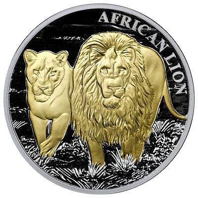 2016 Congo 5000 Francs 1 Oz Gilt Proof Silver African Lion in Mint Cap SKU38792