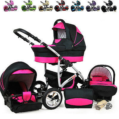 Baby Pram Stroller Car Seat Carrycot Travel System Buggy FREEBIES