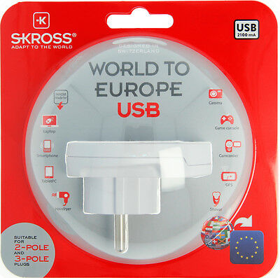 Original SKROSS® Brand Travel Adapter with USB - Country Adapter World to Europe