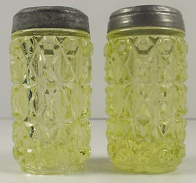 Vintage Vaseline Glass Pressed Diamond Salt & Pepper Shakers With Original Lids