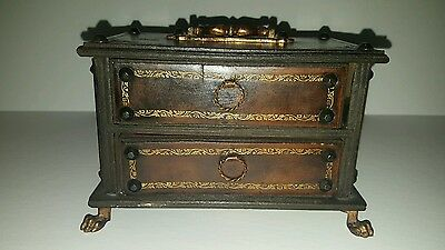 Vintage wood 2 drawer jewelry box with lion foot made in Italy
