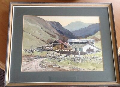 E.Grieg Hall Original Watercolour Signed Mounted & Framed Farmscape Picture