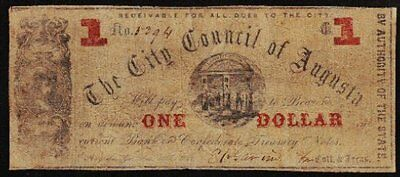 "1862 ""City Council of Augusta, GA"" $1 Obsolete Note"
