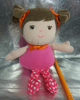 "GARANIMALS 6"" PLUSH Baby GIRL Doll RATTLE Soft Toy Lovey BROWN Hair Pink HEARTS"