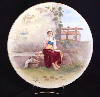 Antique Hand Painted French Porcelain Charger Plaque Artist Signed Henri Catelin