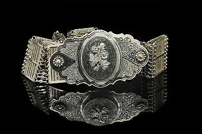 Antique Original Silver Ottoman Niello Decorated Filigree Traditional Belt