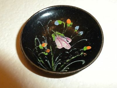 FABULOUS - VICTORIAN Antique BRASS CUP TOLE Hand Painted Enamel CLOTHING BUTTON